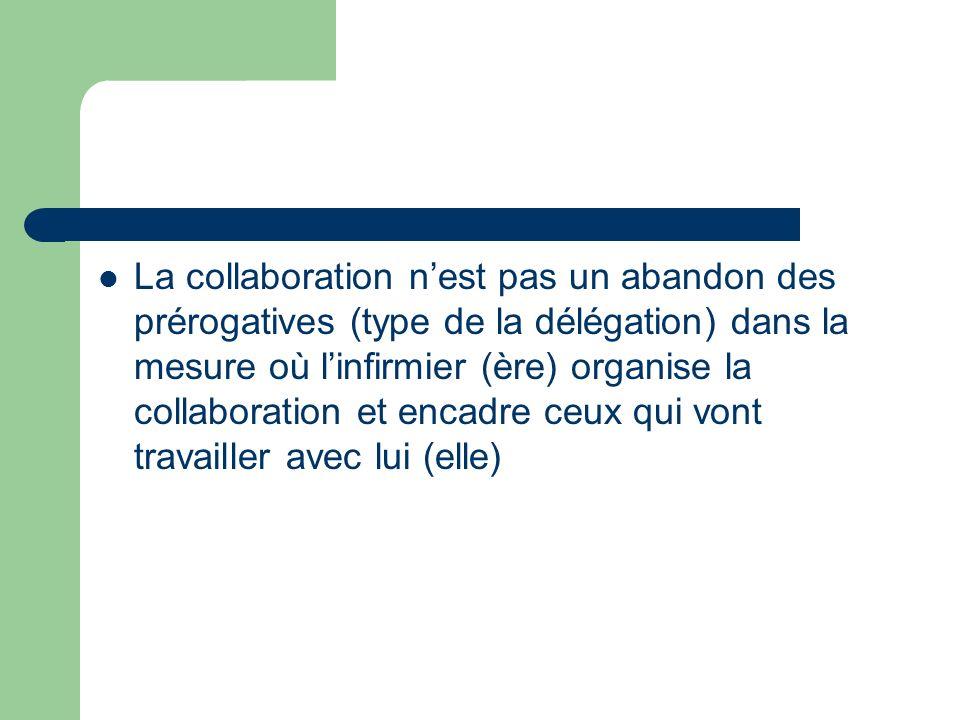 La collaboration nest pas un abandon des prérogatives (type de la délégation) dans la mesure où linfirmier (ère) organise la collaboration et encadre ceux qui vont travailler avec lui (elle)