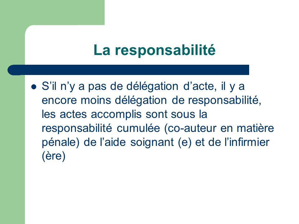 La responsabilité Sil ny a pas de délégation dacte, il y a encore moins délégation de responsabilité, les actes accomplis sont sous la responsabilité cumulée (co-auteur en matière pénale) de laide soignant (e) et de linfirmier (ère)