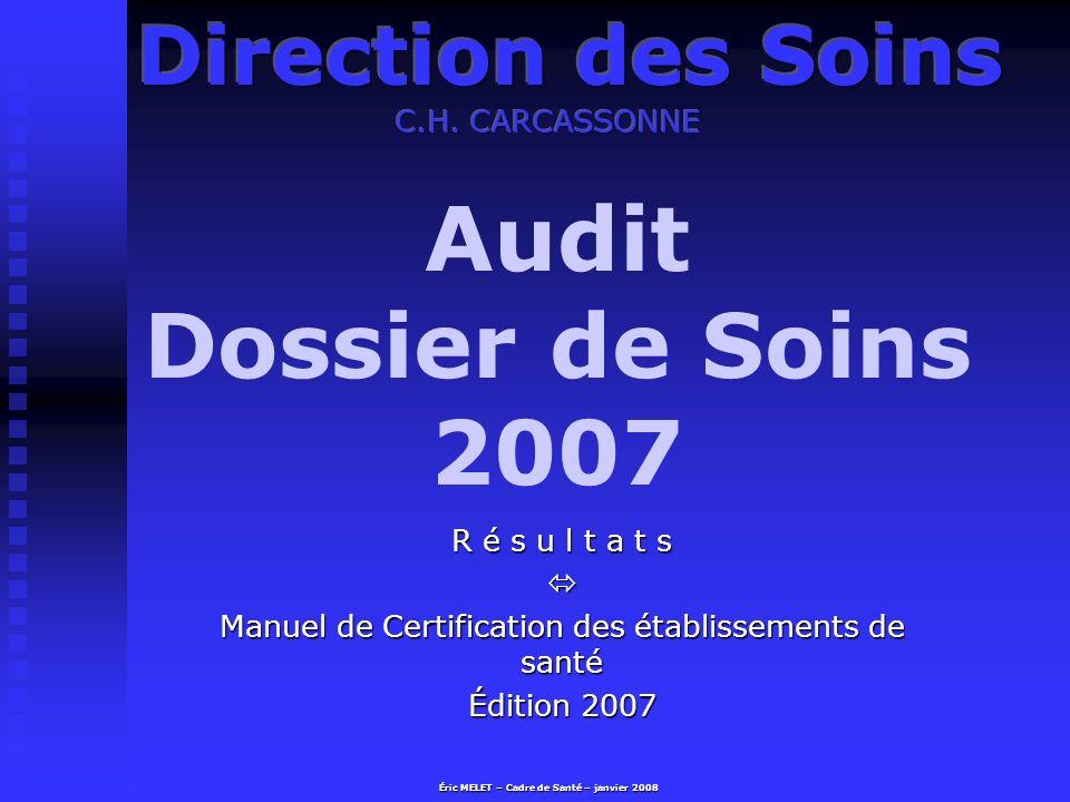 Audit Dossier de Soins 2007 R é s u l t a t s Manuel de Certification des établissements de santé Édition 2007 Éric MELET – Cadre de Santé – janvier 2