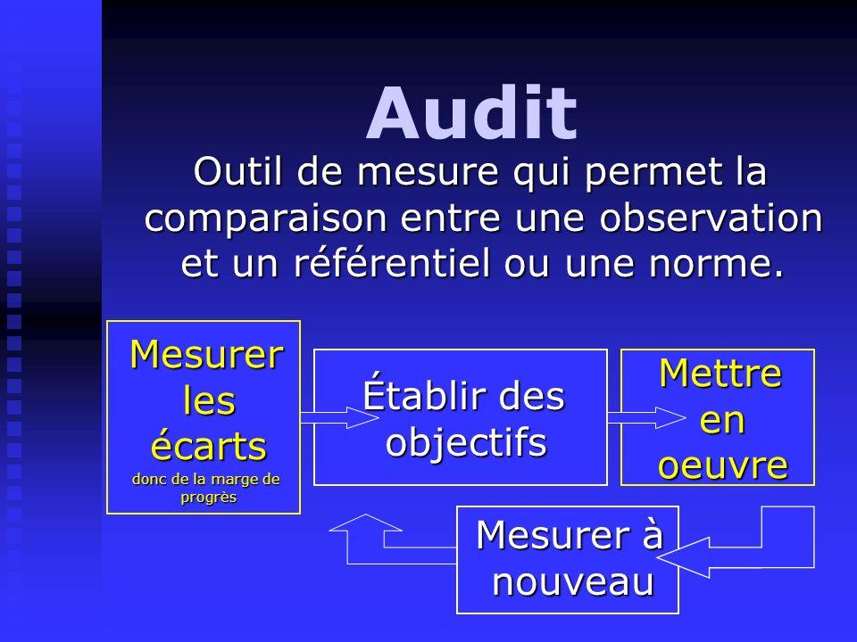 Mettre en oeuvre Établir des objectifs Audit Outil de mesure qui permet la comparaison entre une observation et un référentiel ou une norme. Mesurer l