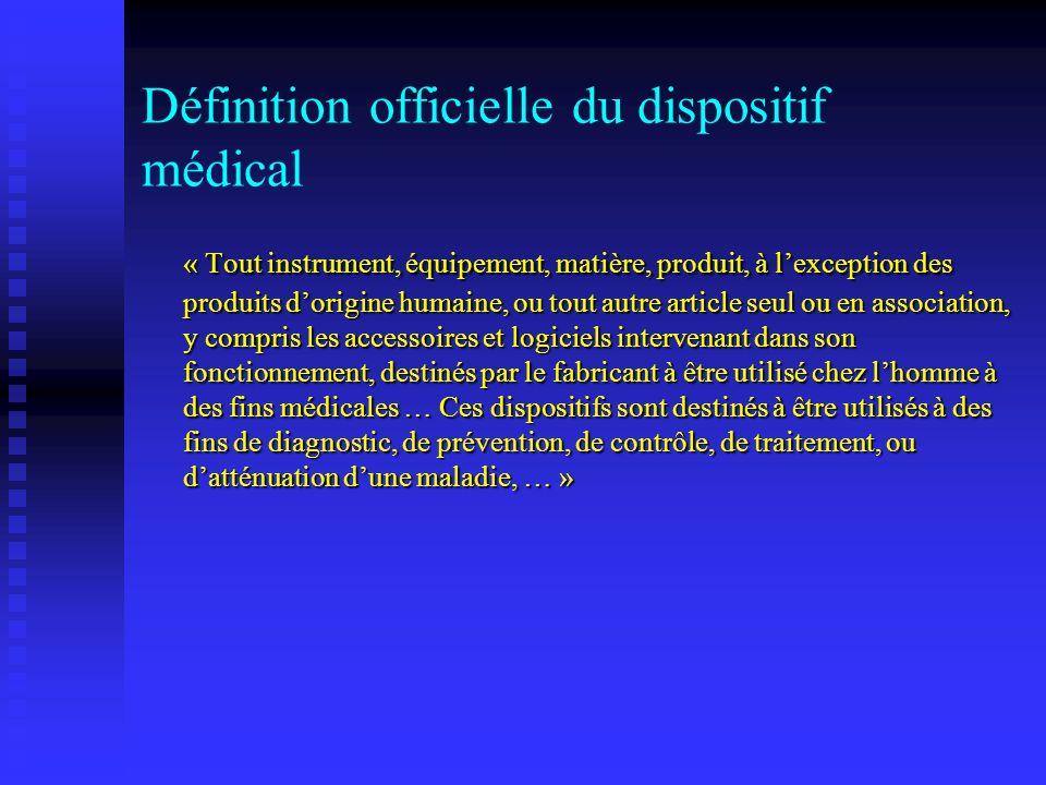 Les DM sont utilisés à des fins de: Diagnostic, prévention, contrôle, traitement ou datténuation dune maladie.