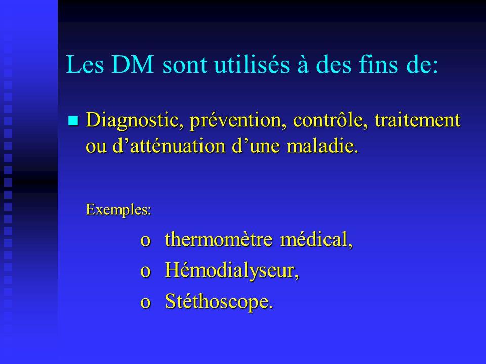 Les DM sont utilisés à des fins de: Compensation dune blessure ou dun handicap.