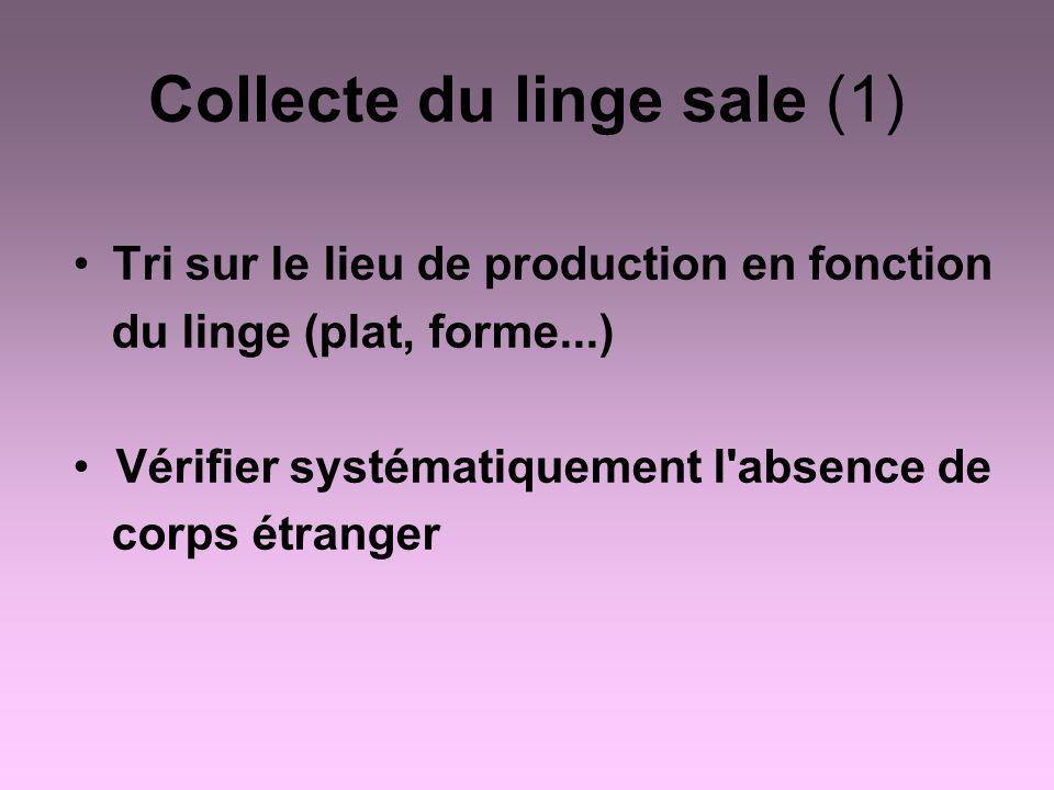 Collecte du linge sale (1) Tri sur le lieu de production en fonction du linge (plat, forme...) Vérifier systématiquement l'absence de corps étranger