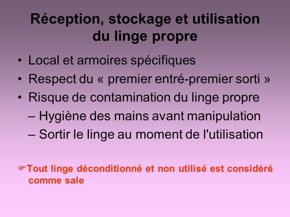 Réception, stockage et utilisation du linge propre Local et armoires spécifiques Respect du « premier entré-premier sorti » Risque de contamination du