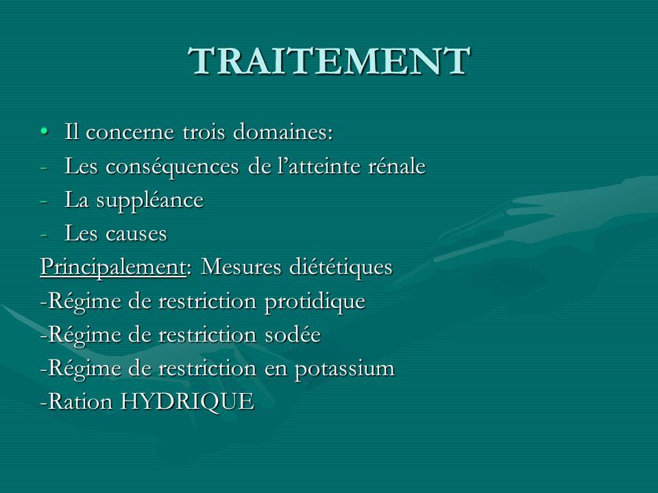 TRAITEMENT Il concerne trois domaines:Il concerne trois domaines: -Les conséquences de latteinte rénale -La suppléance -Les causes Principalement: Mes