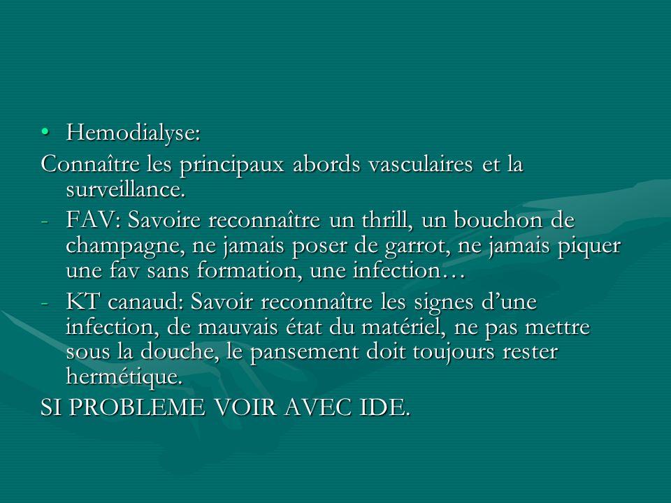 Hemodialyse:Hemodialyse: Connaître les principaux abords vasculaires et la surveillance. -FAV: Savoire reconnaître un thrill, un bouchon de champagne,