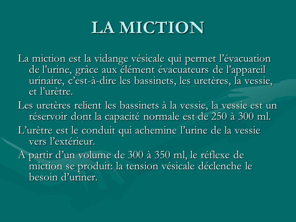 LA MICTION La miction est la vidange vésicale qui permet lévacuation de lurine, grâce aux élément évacuateurs de lappareil urinaire, cest-à-dire les b
