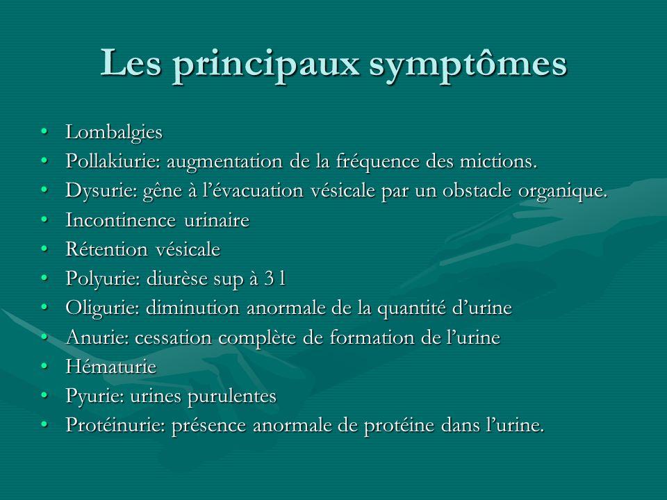 Les principaux symptômes LombalgiesLombalgies Pollakiurie: augmentation de la fréquence des mictions.Pollakiurie: augmentation de la fréquence des mic
