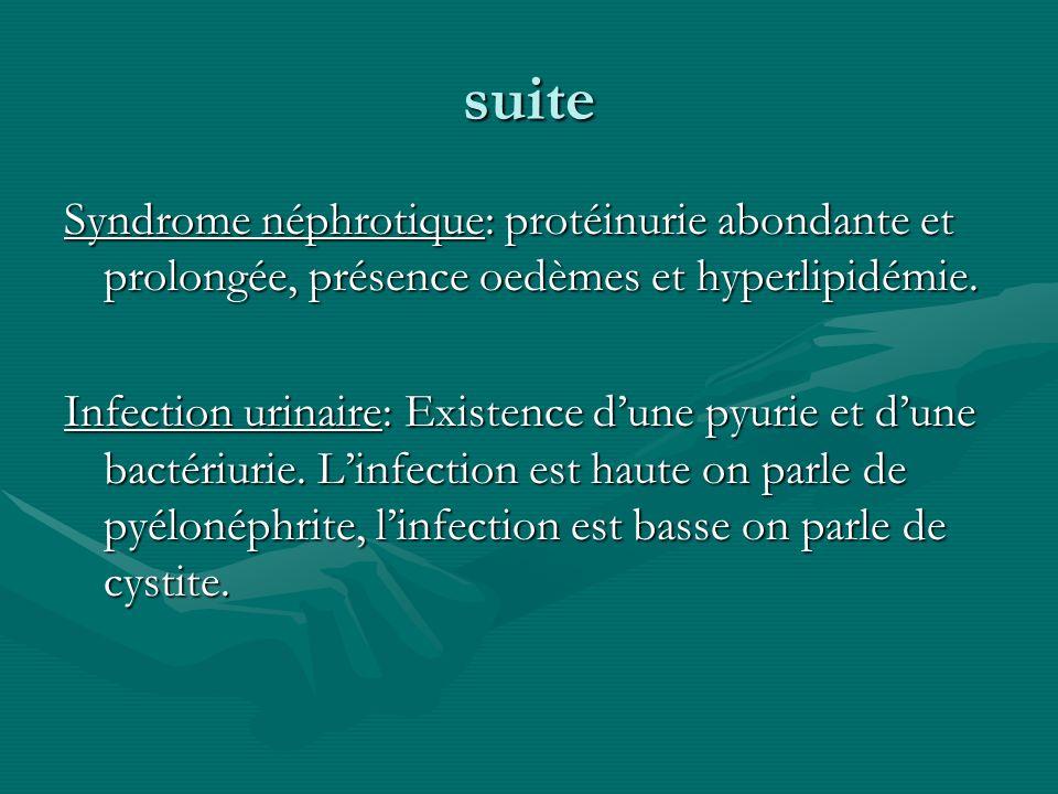 suite Syndrome néphrotique: protéinurie abondante et prolongée, présence oedèmes et hyperlipidémie. Infection urinaire: Existence dune pyurie et dune