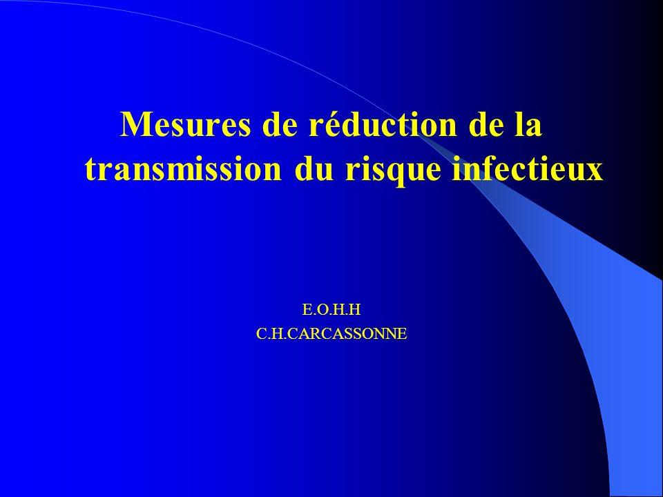 Mesures de réduction de la transmission du risque infectieux E.O.H.H C.H.CARCASSONNE