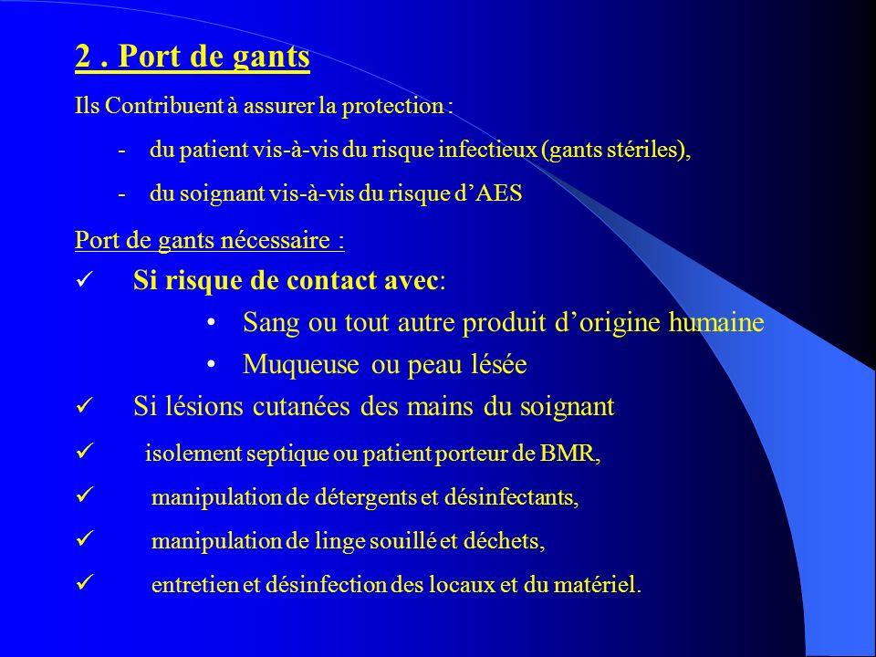 2. Port de gants Ils Contribuent à assurer la protection : - du patient vis-à-vis du risque infectieux (gants stériles), - du soignant vis-à-vis du ri