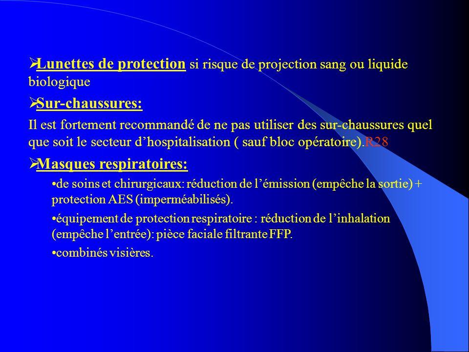 Lunettes de protection si risque de projection sang ou liquide biologique Sur-chaussures: Il est fortement recommandé de ne pas utiliser des sur-chaus