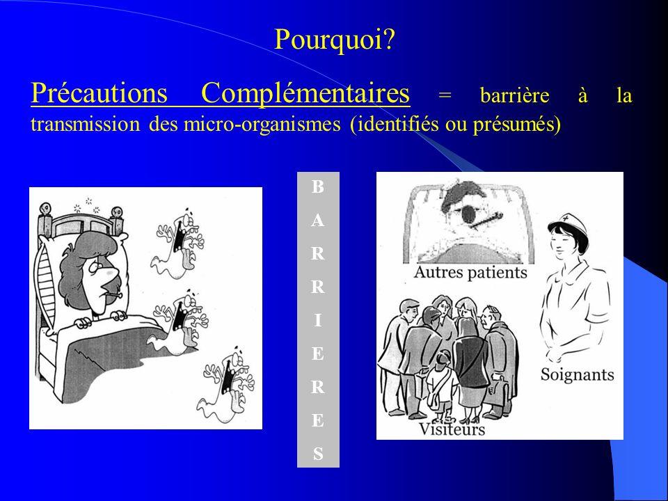Pourquoi? Précautions Complémentaires = barrière à la transmission des micro-organismes (identifiés ou présumés) BARRIERESBARRIERES