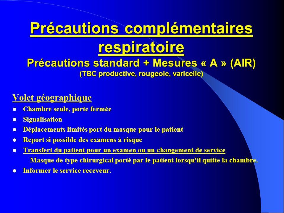Précautions complémentaires respiratoire Précautions standard + Mesures « A » (AIR) (TBC productive, rougeole, varicelle) Volet géographique Chambre s