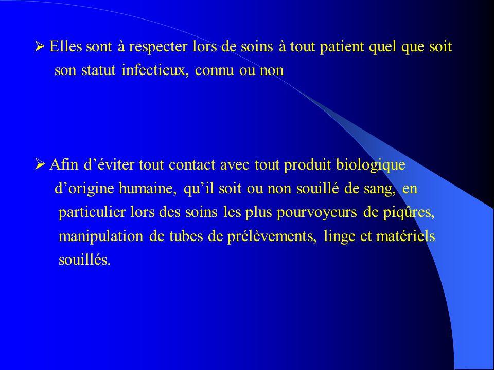 Elles sont à respecter lors de soins à tout patient quel que soit son statut infectieux, connu ou non Afin déviter tout contact avec tout produit biol