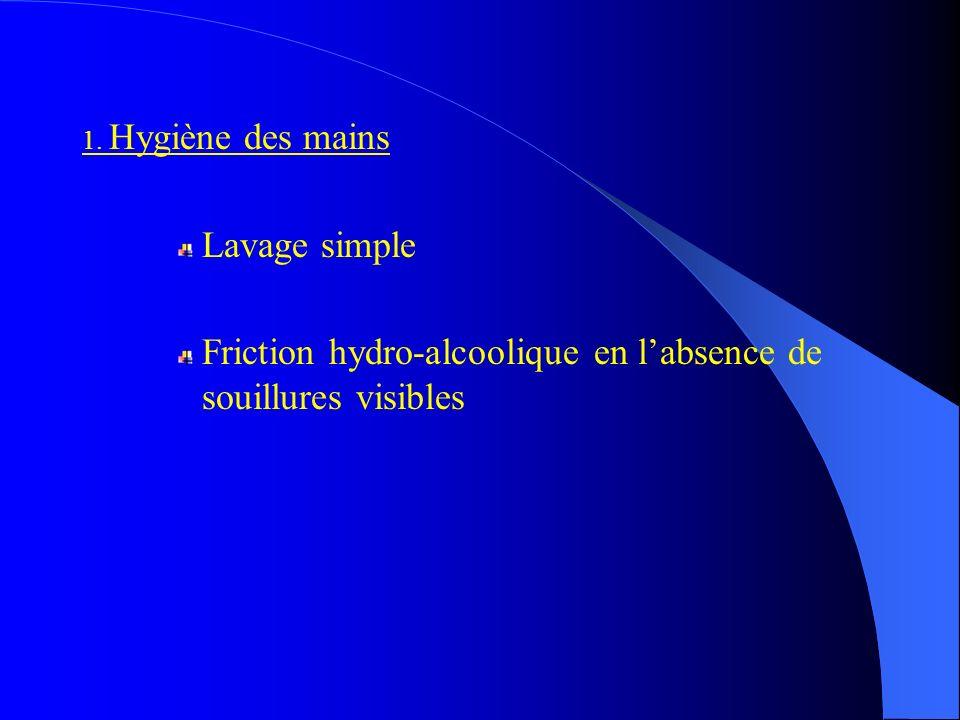 1. Hygiène des mains Lavage simple Friction hydro-alcoolique en labsence de souillures visibles