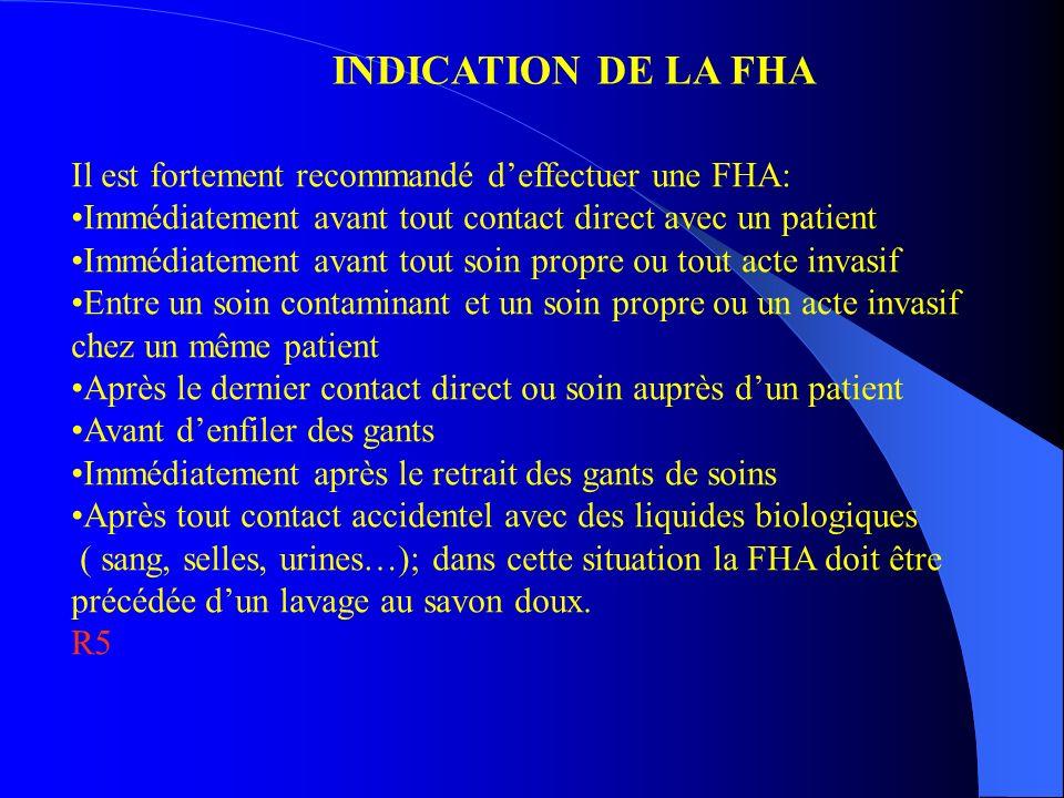 INDICATION DE LA FHA Il est fortement recommandé deffectuer une FHA: Immédiatement avant tout contact direct avec un patient Immédiatement avant tout