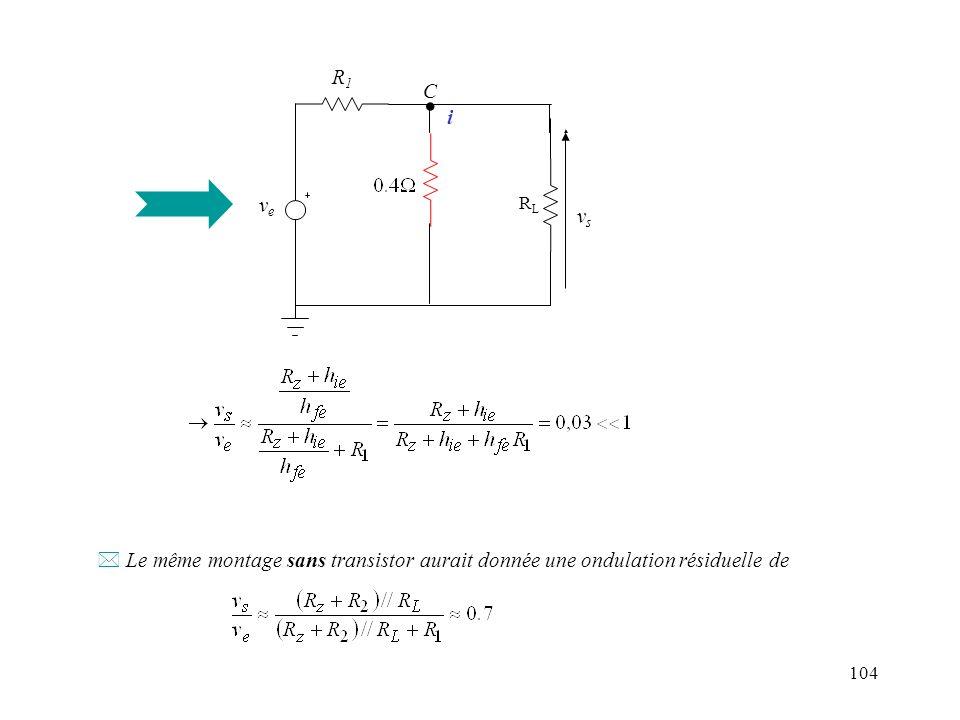 104 R L veve R1R1 vsvs C. i * Le même montage sans transistor aurait donnée une ondulation résiduelle de