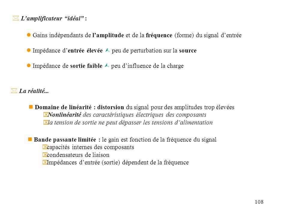 108 * Lamplificateur idéal : l Gains indépendants de lamplitude et de la fréquence (forme) du signal dentrée l Impédance dentrée élevée peu de perturb