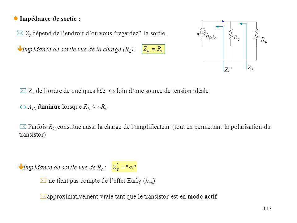 114 Avec leffet Early : ieie iLiL vgvg rBrB h ie h fe i b veve RcRc RERE v sortie Z s Méthode de calcul possible (en fait la plus simple ici) : Z s = R Th AB = résistance entre A et B, avec v g court-circuité = v s / i s .