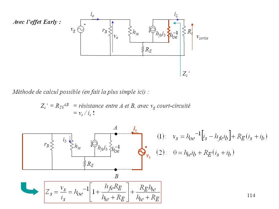 114 Avec leffet Early : ieie iLiL vgvg rBrB h ie h fe i b veve RcRc RERE v sortie Z s Méthode de calcul possible (en fait la plus simple ici) : Z s =