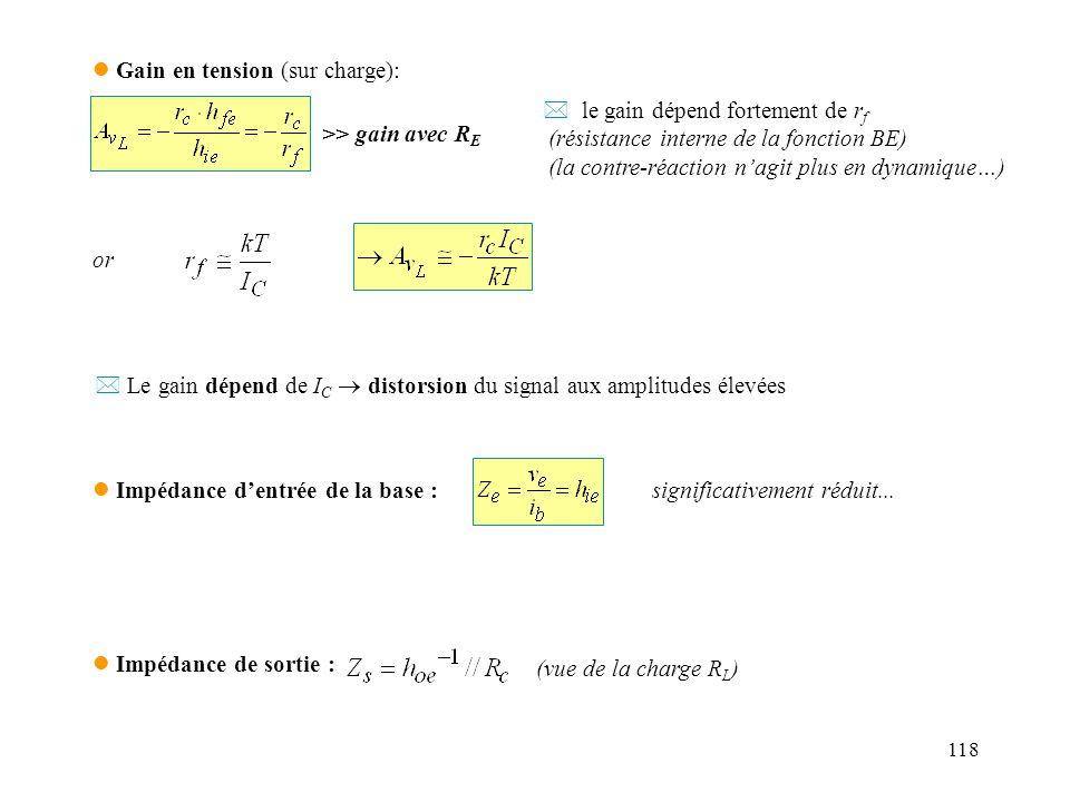 118 l Gain en tension (sur charge): >> gain avec R E * le gain dépend fortement de r f (résistance interne de la fonction BE) (la contre-réaction nagi