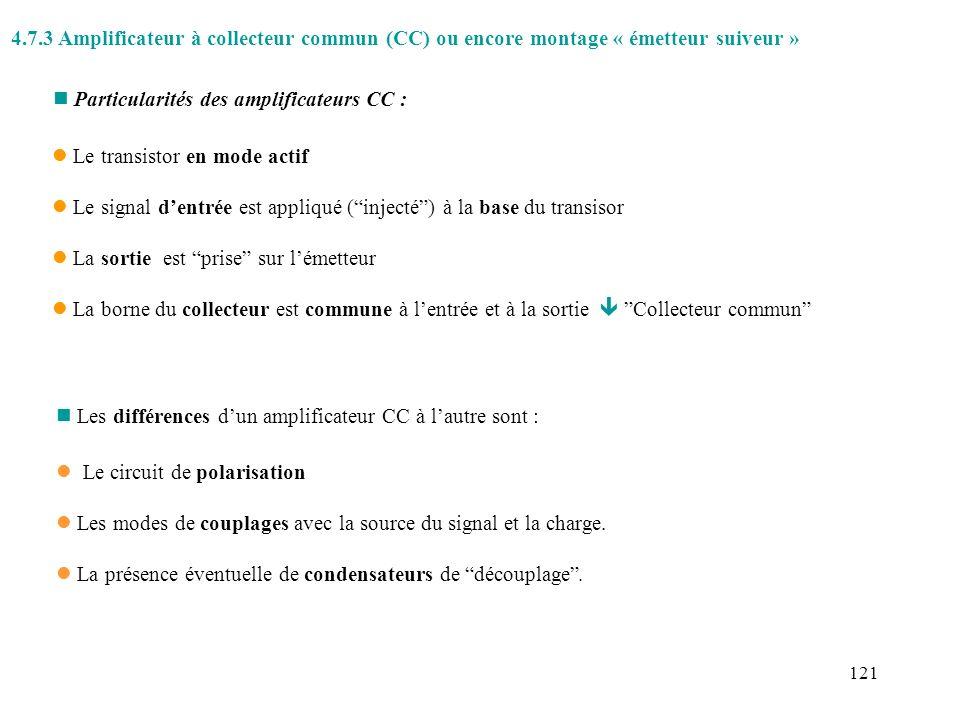122 Exemple: ê Polarisation par diviseur de tension ê Couplage capacitif avec la source, v g, et la charge R L.
