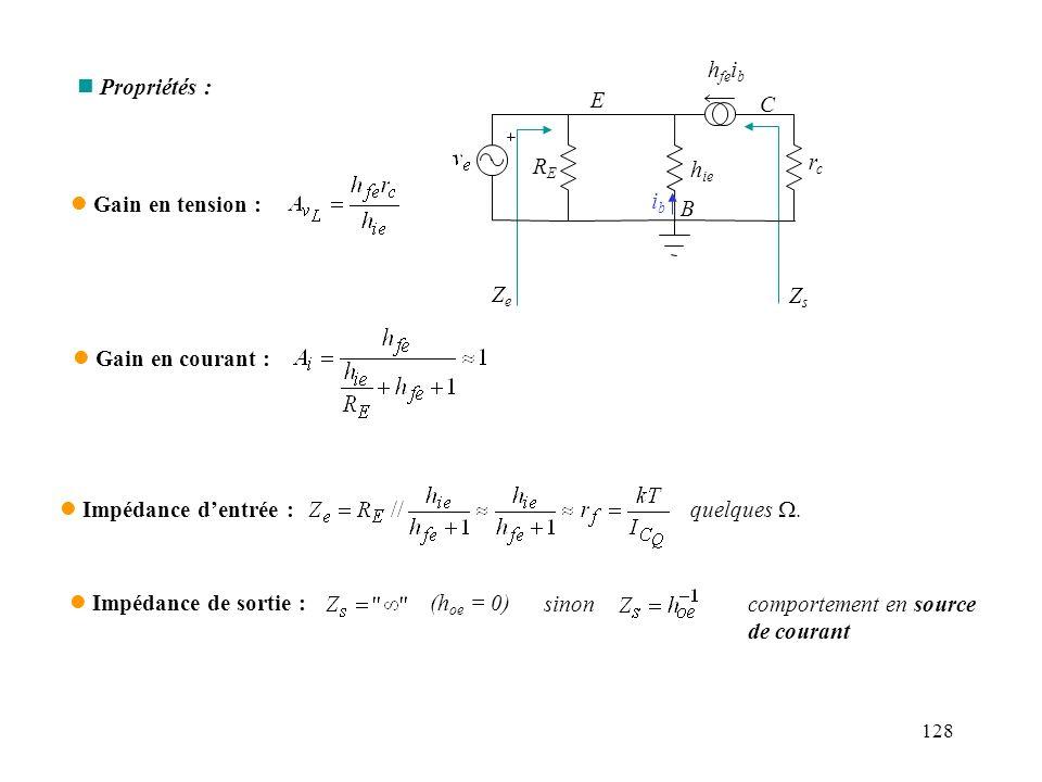 129 Exemple dapplication : convertisseur courant - tension ZeZe ZsZs vgvg R ieie A i i e isis RLRL * Lorsque v g = 0, (i e =0), la sortie est vue par la charge comme une résistance très grande (h oe -1 ) (cf.