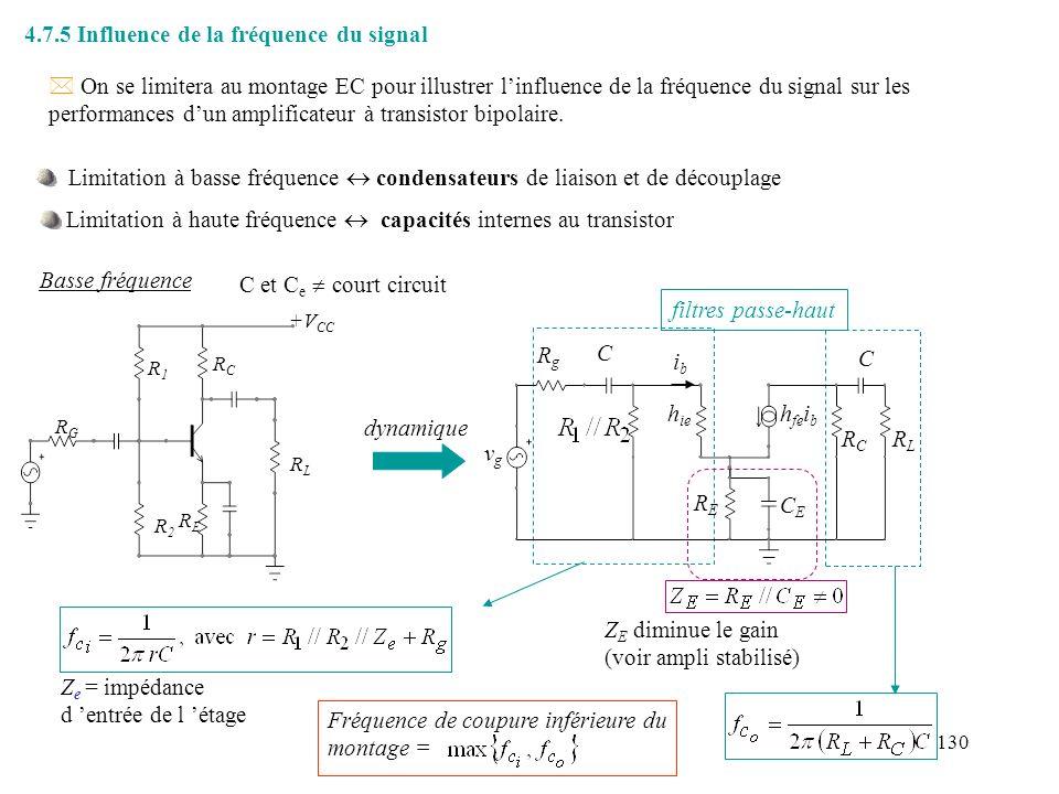 131 Hautes fréquences RgRg h ie h fe i b C be C bc ibib qualitativement: aux fréquences élevées, C be court-circuite la jonction base-émetteur i b diminue C bc crée une contre-réaction.