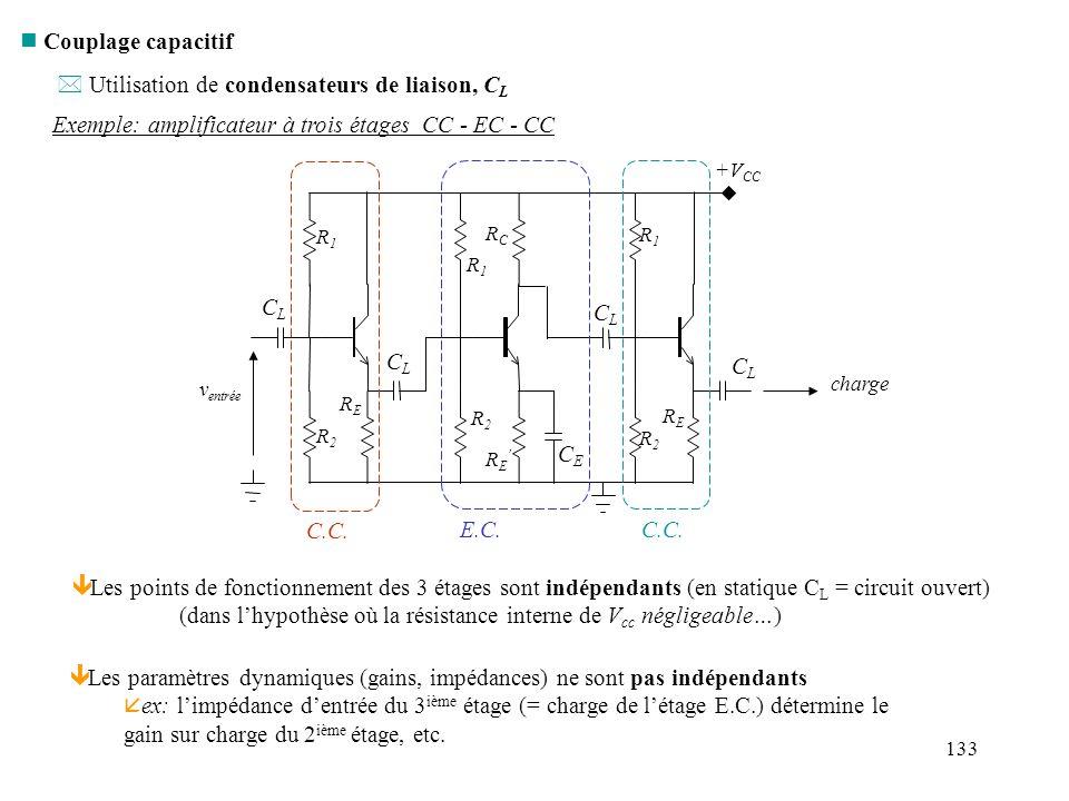 133 n Couplage capacitif Exemple: amplificateur à trois étages CC - EC - CC * Utilisation de condensateurs de liaison, C L C.C. E.C.C.C. ê Les points