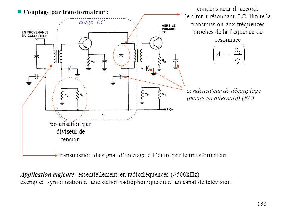 138 n Couplage par transformateur : polarisation par diviseur de tension transmission du signal dun étage à l autre par le transformateur condensateur