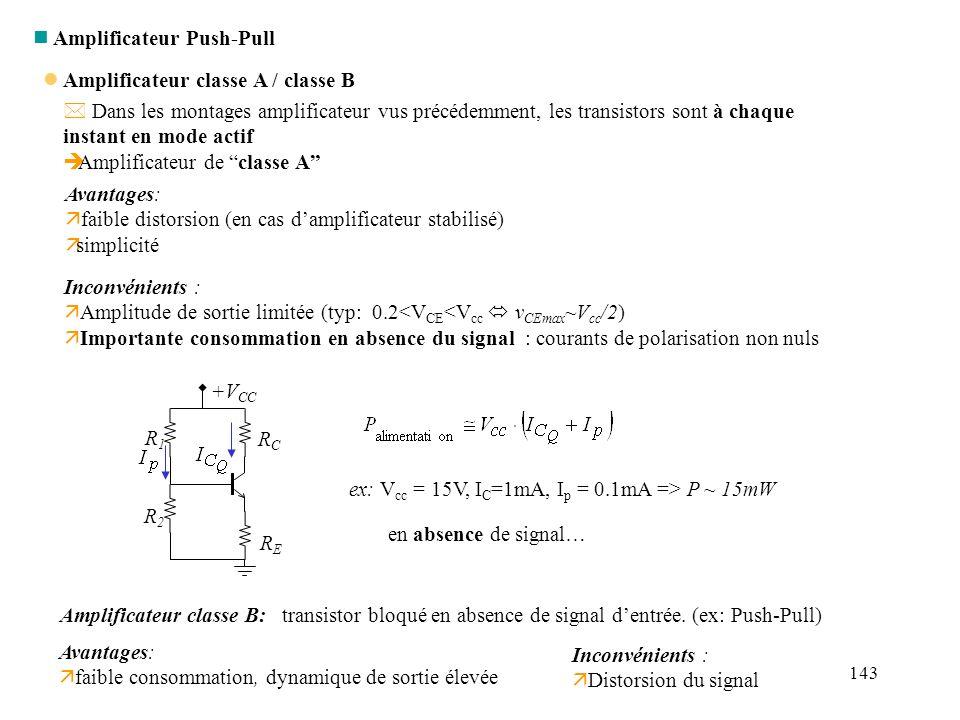 144 l Push Pull l Transistors bloqués au point de repos (amplificateur « classe B »).