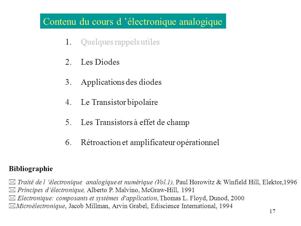 17 Contenu du cours d électronique analogique 1.Quelques rappels utiles 2. Les Diodes 3. Applications des diodes 4. Le Transistor bipolaire 5. Les Tra