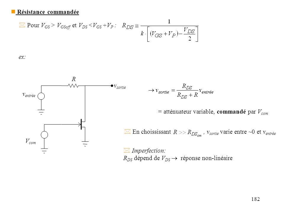 182 * Pour V GS > V GSoff et V DS <V GS +V P : ex: v entrée v sortie V com R = atténuateur variable, commandé par V com * En choississant, v sortie va
