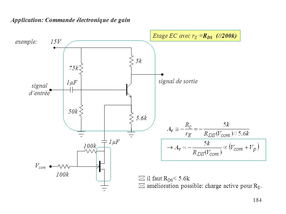 184 Application: Commande électronique de gain exemple:15V 75k 50k 5k 1µF 100k signal dentrée signal de sortie V com Etage EC avec r E =R DS (//200k)