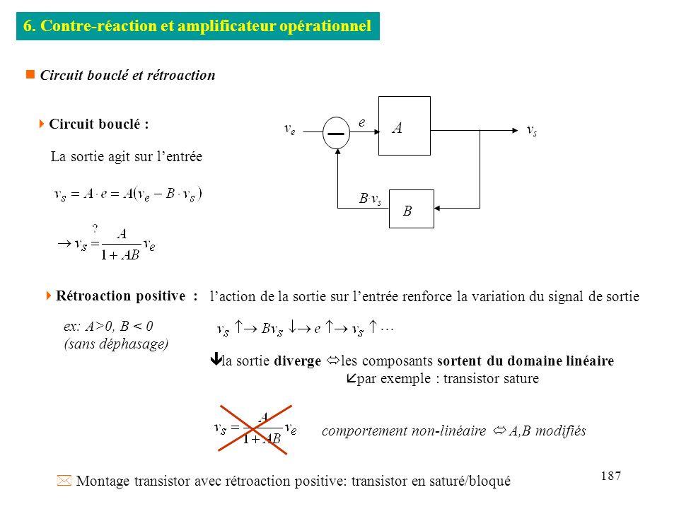 188 A B veve vsvs e B.vsB.vs Rétroaction négative ou « contre-réaction » : Laction de la sortie sur lentrée atténue la variation du signal de sortie ex: A>0, B >0 (sans déphasage) ê la sortie converge vers : G = gain en boucle fermée : G<A Si AB >>1, la variation ou toute incertitude sur A naffecte pas G.