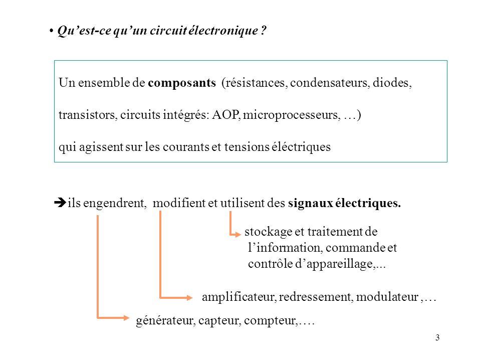 3 Un ensemble de composants (résistances, condensateurs, diodes, transistors, circuits intégrés: AOP, microprocesseurs, …) qui agissent sur les couran