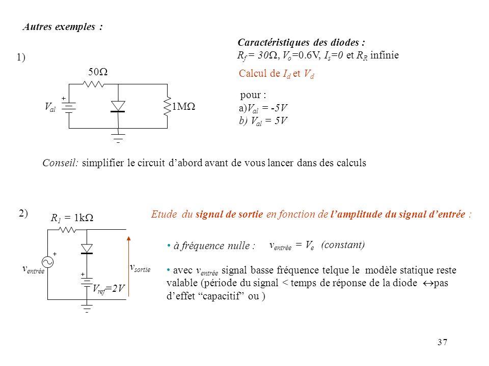37 Autres exemples : v sortie v entrée R 1 = 1k V ref =2V avec v entrée signal basse fréquence telque le modèle statique reste valable (période du sig