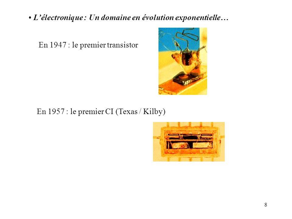 8 Lélectronique : Un domaine en évolution exponentielle… En 1947 : le premier transistor En 1957 : le premier CI (Texas / Kilby)