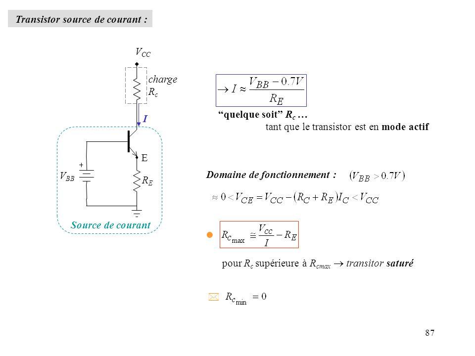 87 Transistor source de courant : charge R c V CC V BB RERE I E Source de courant quelque soit R c … tant que le transistor est en mode actif Domaine
