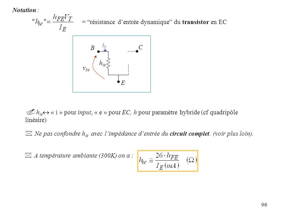 97 n Caractéristique de sortie en mode actif : En première approximation : IcIc V CE I BQ Q droite de charge i c =h fe i b t I BQ +i b v ce En tenant compte de leffet Early:où h fe = gain en courant dynamique h FE en Q (*) ibib h ie h fe i b B E C icic B ibib h ie h fe i b E C icic h oe -1 = impédance de sortie du transistor en EC Ordre de grandeur : 100k - 1M * Le modèle dynamique ne dépend pas du type (NPN ou PNP) du transistor