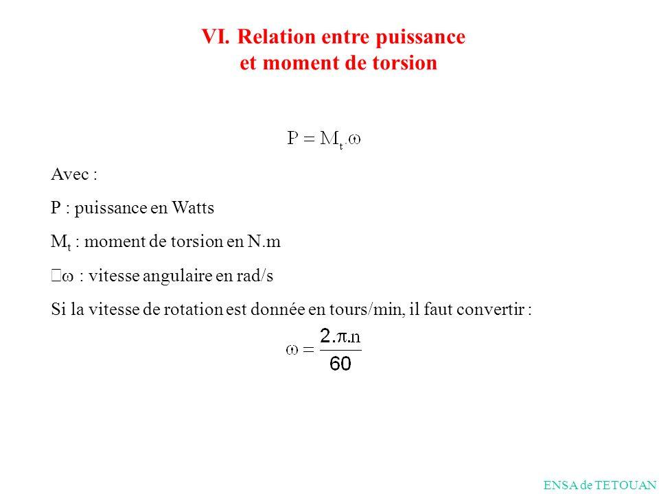 Avec : P : puissance en Watts M t : moment de torsion en N.m : vitesse angulaire en rad/s Si la vitesse de rotation est donnée en tours/min, il faut convertir : ENSA de TETOUAN VI.