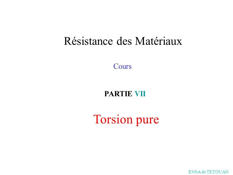 Torsion pure PARTIE VII Cours Résistance des Matériaux ENSA de TETOUAN