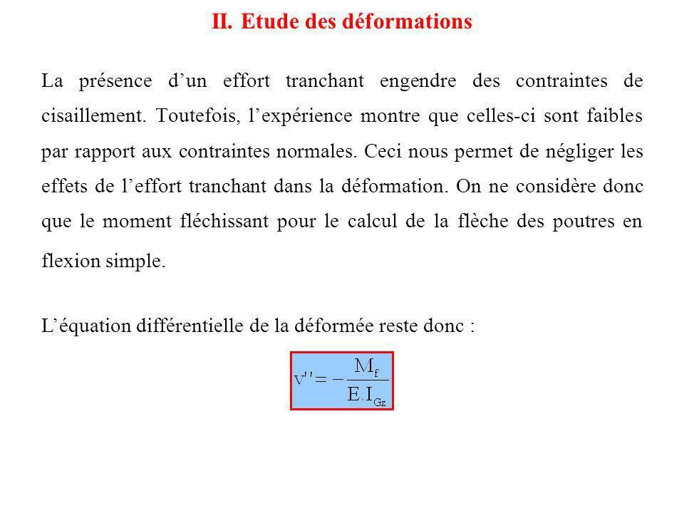 III.1 Contraintes normales On retrouve lexpression de la contrainte normale définie pour la flexion pure : III.