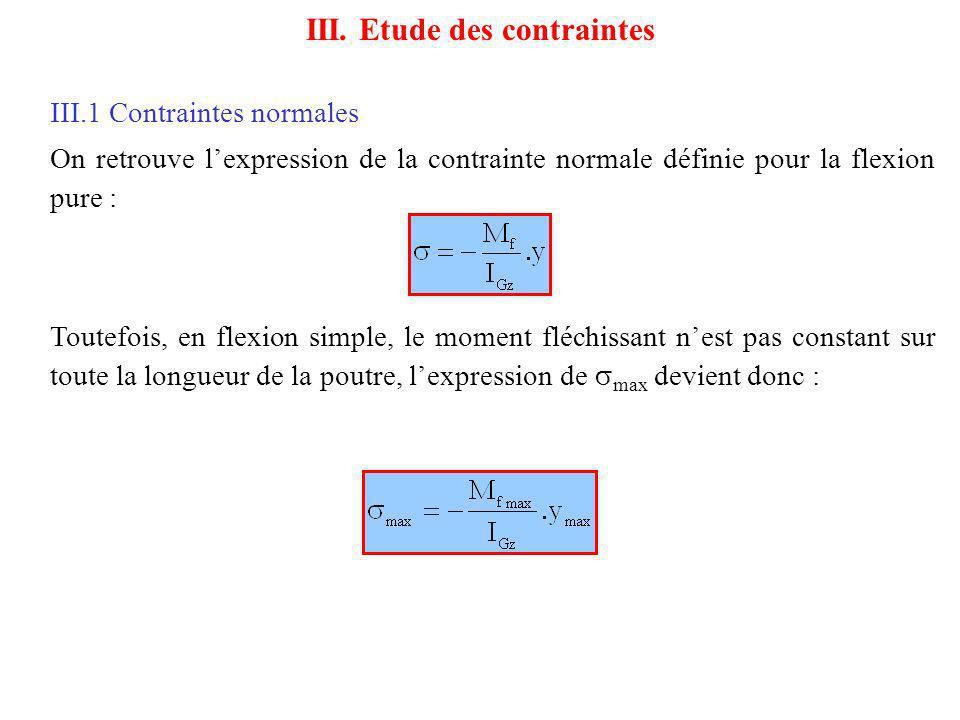 III.1 Contraintes normales On retrouve lexpression de la contrainte normale définie pour la flexion pure : III. Etude des contraintes Toutefois, en fl
