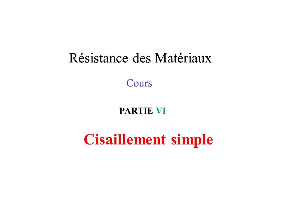 Résistance des Matériaux Cours PARTIE VI Cisaillement simple