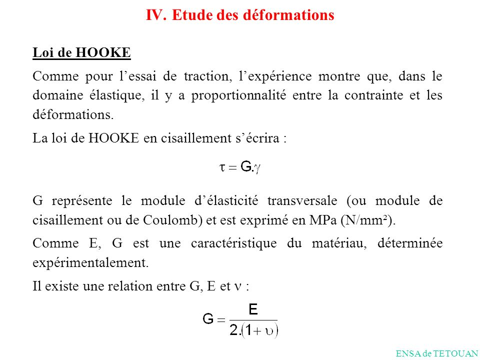 Loi de HOOKE Comme pour lessai de traction, lexpérience montre que, dans le domaine élastique, il y a proportionnalité entre la contrainte et les déformations.