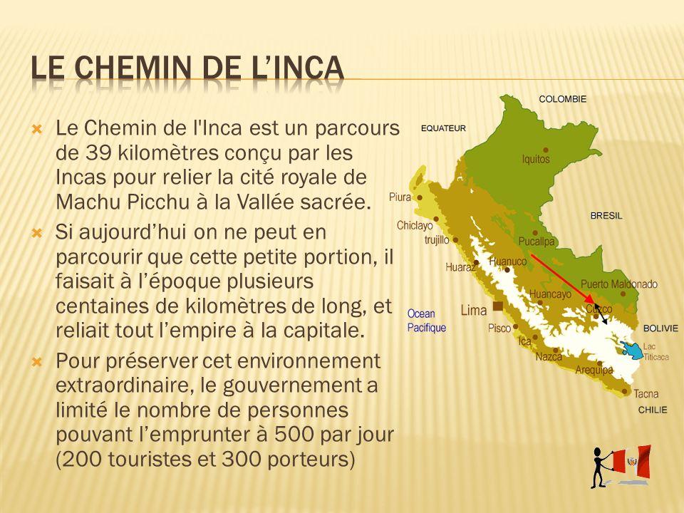 Le Chemin de l'Inca est un parcours de 39 kilomètres conçu par les Incas pour relier la cité royale de Machu Picchu à la Vallée sacrée. Si aujourdhui