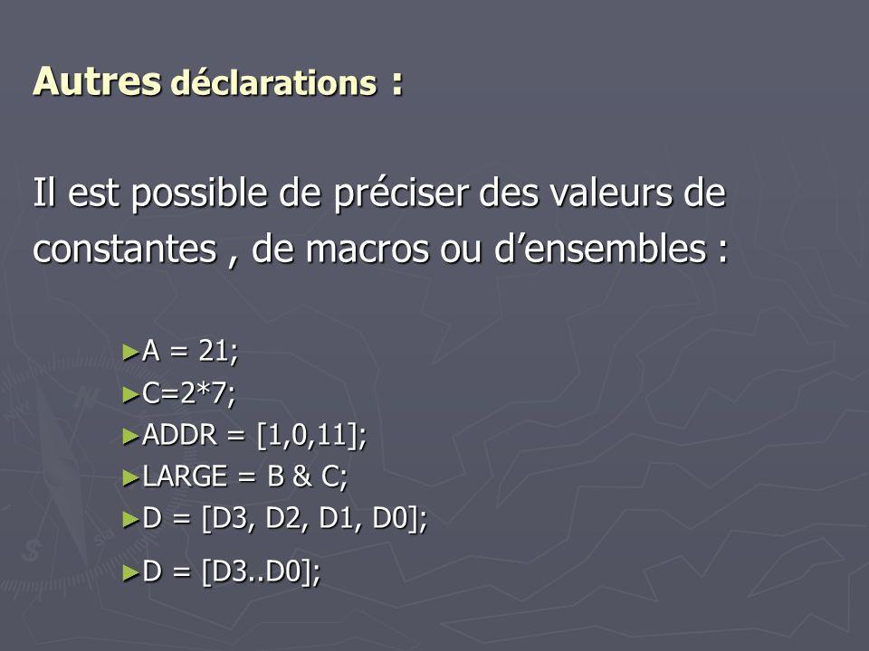 Autres déclarations : Il est possible de préciser des valeurs de constantes, de macros ou densembles : A = 21; C=2*7; ADDR = [1,0,11]; LARGE = B & C;