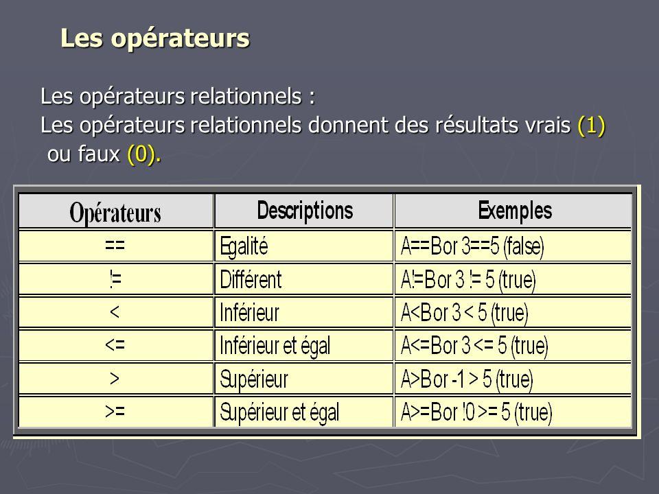 Les opérateurs Les opérateurs Les opérateurs relationnels : Les opérateurs relationnels donnent des résultats vrais (1) ou faux (0). ou faux (0).